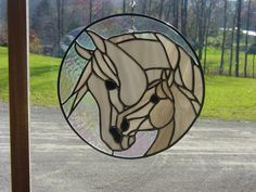 Large Stained Glass Mare and Foal by StainedGlassbyBetty on Etsy
