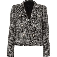 River Island Black faux pearl embellished boucle jacket (475 AED) ❤ liked on Polyvore featuring outerwear, jackets, black, coats / jackets, women, tall jackets, river island jackets, boucle jackets, double breasted jacket and embellished jackets