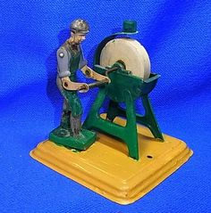 Vintage Western German Tin Toy Steam Engine Drive Modell Grinding Machine