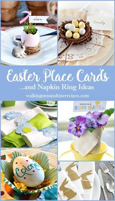 Easter place cards and napkin ring ideas featured on Walking on Sunshine to help you set a pretty table. Diy Easter Cards, Easter Crafts For Kids, Easter Ideas, Easter Brunch, Easter Party, Easter Dinner, Passover And Easter, Brunch Table Setting, Diy Place Cards