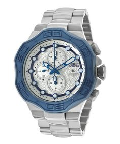 Invicta Men's Pro Diver Chrono Stainless Steel Silver-Tone Dial Blue Bezel