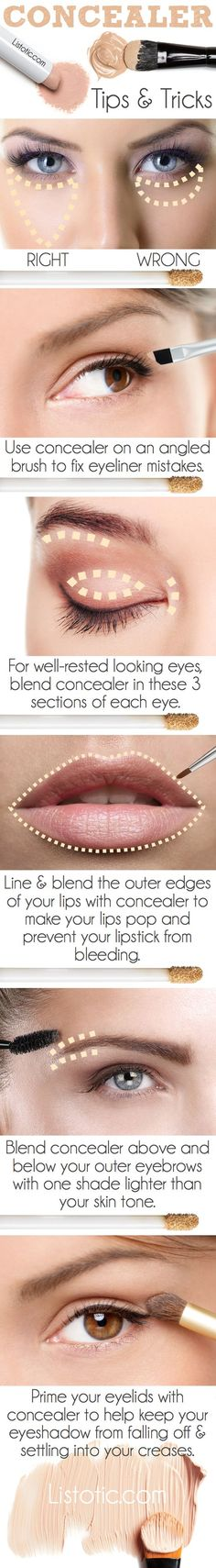 A handy infographic showing you how to apply concealer properly #makeuptips...x