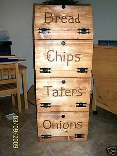 custom handmade potato bin/ bread box in Antiques, Primitives Onion Storage, Potato Storage, Storage Bins, Kitchen Storage, Bread Storage, Storage Ideas, Potato And Onion Bin, Potato Box, Vegetable Bin