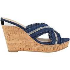 GUESS Evalea Denim Cork Wedges ($79) ❤ liked on Polyvore featuring shoes, sandals, guess shoes, criss cross strap sandals, denim shoes, denim footwear and polish shoes