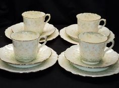 Shelley Set of 4 Foley Wileman Daisy Antique Tea Cup and Saucer Plate Trio | eBay