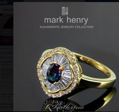 Alexandrite and bagette diamond ring
