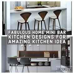27 Fabulous Home Mini Bar Kitchen Designs For Amazing Kitchen Idea Small Kitchen Bar, Kitchen Bar Decor, Kitchen Bar Design, Round Kitchen, Kitchen Ideas, Kitchen Designs, Mini Bars, Luxury Kitchens, Cool Kitchens