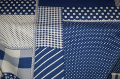 NB 5634-005 Katoen patchwork kobaltblauw