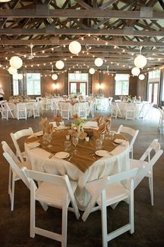 Burlap overlays, paper lanterns and white wood chairs to make a great rustic barn wedding. Wedding Table, Fall Wedding, Wedding Reception, Rustic Wedding, Our Wedding, Dream Wedding, Wedding Beauty, Wedding Pins, Wedding Burlap
