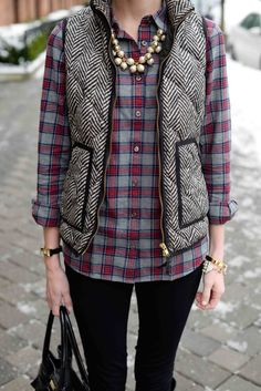 Weekend Uniform: Flannel Shirts, Comfy Leggings and Puffer Vests | Kelly in the City