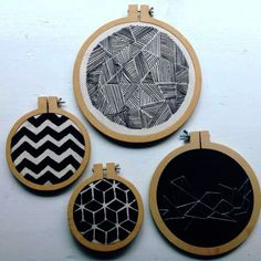 Vintage Embroidery Ideas 8 Geometric embroidery pack - Embroidery Hoop Art- Hoop Home Decor Geometric… - A quick and easy project using your sewing machine. Make adorable patchwork placemats using pre-cut fabric squares to grace your table. Contemporary Embroidery, Modern Embroidery, Embroidery Hoop Art, Vintage Embroidery, Cross Stitch Embroidery, Embroidery Patterns, Pillow Embroidery, Blackwork Embroidery, Butterfly Embroidery