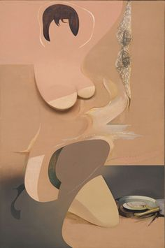 """Pin-up  Richard Hamilton  The Museum of Modern Art, MoMA    1961. Oil, cellulose, and collage on panel, 53 3/4 x 37 3/4 x 3"""" (136.5 x 95.8 x 7.6 cm) including frame."""