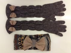 Knit Ear Warmer Knit Headband and Long Gloves Set by happygloves