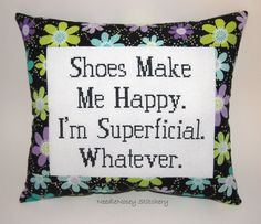 Funny Cross Stitch Pillow Black Flower Pillow Shoe by NeedleNosey, $23.00