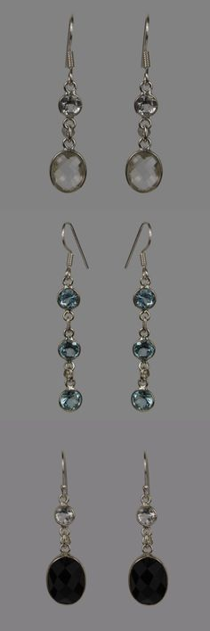 Sign up to our newsletter and get 10% off.   The earrings showcased here would make a beautiful, unique Christmas present for an adored love one. Blue Topaz, black Onyx and clear Crystal are set in modern bezel settings.