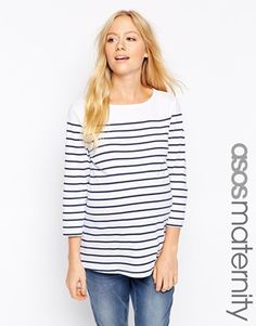 Enlarge ASOS Maternity Top in Cotton Breton Stripe with 3/4 Sleeve
