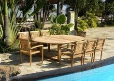 The Aruba Large set - 8 Seater Extendable Round/Oval Teak Set