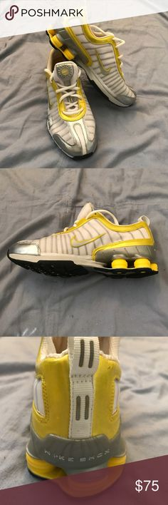 Nike Shox - Never Worn - Size 7 Awesome pair of Nike Shox.  This pair is yellow/white/silver and is size 7.  NEVER WORN !!!  Make an offer today! Nike Shoes Athletic Shoes