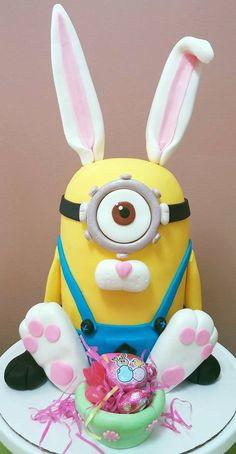 Minion Easter Bunny Cake!