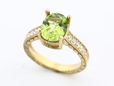 Natural Green Peridot Solid 14K Yellow Gold by EESilverStudio, Etsy