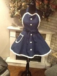 Retro Navy Blue White Ladies Apron Also Fits by MothersApronString
