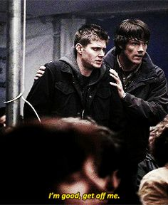 This is so sad because Sam can see that Dean needs his support but Dean wants to look big and strong for his little brother and refuses help. :(