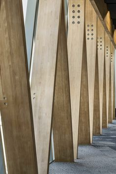 This Large Structural Frame is Made From Laminated Wood Paul McCredie Timber Architecture, Timber Buildings, Architecture Details, Into The Woods, Atrium, Steam Bending Wood, Concrete Wood, Wood Wood, Wooden Facade