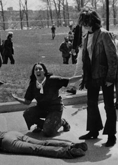 Ⓚ1970 Kent State ShootingsⓀ Pulitzer Prize-winning photo of Mary Ann Vecchio, kneeling over Jeffrey Miller, one of the victims of the Kent State shootings.