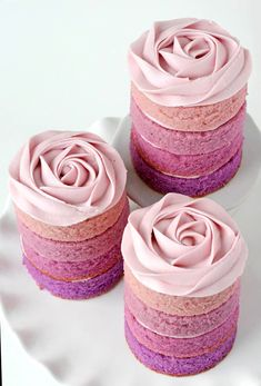 Purple Ombré Mini Cakes. I don't like ombré anything usually, but these are pretty for a shower.