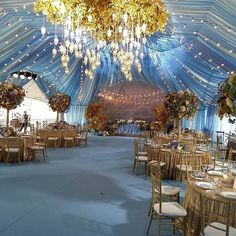 A golden autumn. Magical wedding tent setting executed beautifully
