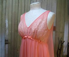 Vintage Vanity Fair Coral long Nightgown 60s sheer nylon chiffon, sold
