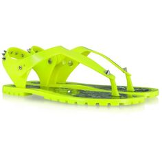 Marc by Marc Jacobs Neon Yellow Rubber Jelly Thong Sandals ($148) ❤ liked on Polyvore