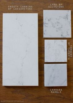 Quartz that resembles carrara marble without the maintaince of marble - sweet! : frosty carrina caesarstone, lyra silestone, torquay cambria, carrara marble..