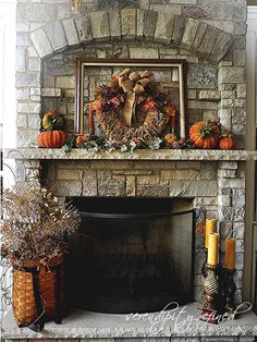 Fall mantel with pumpkins by Serendipity Refined