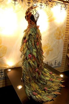 vegetable dress | Just kidding on this one. It's made of some leafy vegetable... like a ...