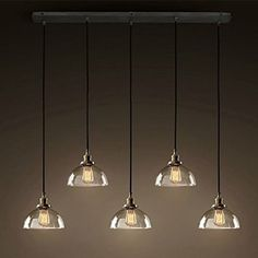 Glass Bowel Bar Counter Ceiling Pendant Lights Loft industrial Dining Room Pendant Lamp American Country Rustic Kitchen Chandelier Fixtures (5 Heads oblong top)