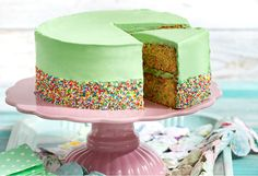 Funfetti fun! Hundreds and thousands make the inside of this cake just as interesting as its lime green outside icing. Kids will love this one at birthdays!