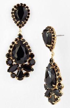 On the wishlist! Gold and jet black stone teardrop earrings.