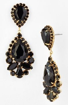 On the wishlist! Gold and jet black stone teardrop earrings.