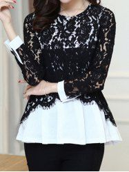 Stylish Scoop Neck Lace Splicing Hollow Out Long Sleeve Women's Blouse