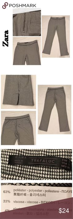 """Zara Trafaluc Stretchy Houndstooth Crop Pants S Zara Trafaluc Houndstooth Elastic Waist Side Zip Stretchy Dress Crop Pants Small Very cute and on trend for Fall!  Waist flat 14"""" (waistband has stretch to it) Rise 9"""" Inseam 26""""  There are two very tiny imperfections in the fabric- one on the front and one on the back. However, the pattern makes it VERY difficult to tell. I was searching for imperfections and it was difficult to find them. I tried to show them in the last two photos. Zara…"""