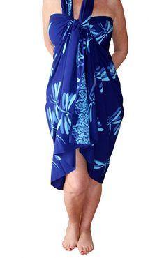 34563bf563 PLUS SIZE Sarong Blue Dragonfly - Batik Pareo Beach Sarong Wrap Extra Long Wrap  Skirt or Dress Womens Plus Size Clothing Plus Size Swimwear