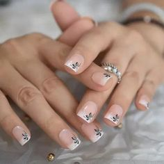Excited to share this item from my shop: Flower French Tips Rhinstones Nail Tips Pre-designed Short Squoval Shape Fake Nails Natural Shiny Glossy Manicure Tip kit,Nail Art French Manicure Nails, Manicure Tips, French Tip Nails, Nail Tips, Nail Ideas, Square Acrylic Nails, Cute Acrylic Nails, Glue On Nails, Cute Nails