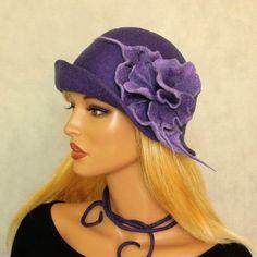Blue lilac hat felted Cloche felt hat Blue lilac by ZiemskaArt