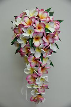Frangipani teardrop bouquet pink and white yellow