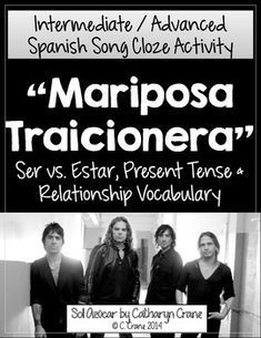 """Mariposa Traicionera"" song activity (ser vs estar, present tense, relationship vocabulary) for Intermediate High School Spanish. By Sol Azúcar"