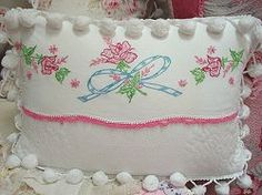 Fabulous Vintage Embroidered & Matelasse Pillow