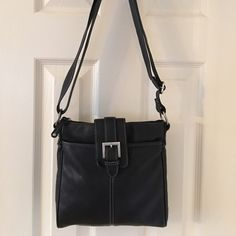 b20b2d556902 Merona Black Silver Cross Body Bag Like new. Adjustable strap. Silver  hardware. Back