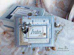 """Elena Arts: """"El mar sereno"""". Libro de firmas para la Primera C... Mini Scrapbook Albums, Mini Albums, Album Book, Scrapbook Supplies, Felt Flowers, Gift Wrapping, Frame, Cards, Minis"""