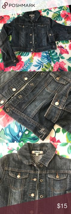DKNY girls short jean jacket Super cute, in great used condition. Size L in girls. Dkny Jackets & Coats Jean Jackets